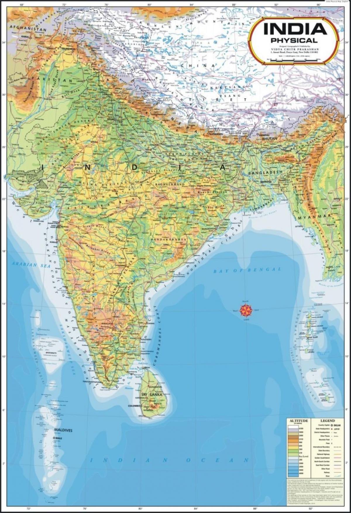 Cartina India.Peta Fisik Dari India India Peta Fisik Asia Selatan Asia